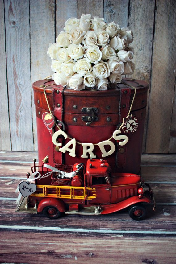 Fire fighter wedding-fire fighter-wedding trunk-wedding card holder-wedding card holder-wood wedding trunk-Fireman on Etsy, $52.00