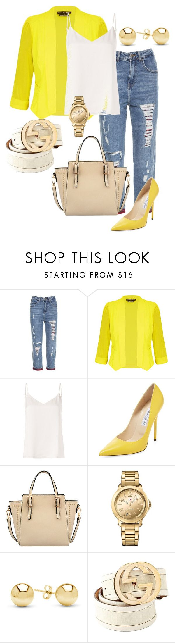 """""""желтый жакет"""" by studio-al-t on Polyvore featuring City Chic, L'Agence, Jimmy Choo, Mellow World, Tommy Hilfiger, Jewelonfire, Gucci and plus size clothing"""