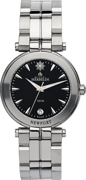 Montre Michel Herbelin Acier - Homme - 12386/B24 - Quartz - Analogique - Verre Saphir - Cadran et Bracelet Acier inoxydable Argent - Date - Newport Trophy