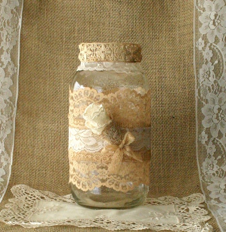 ViNTAGE LACE on Burlap wedding JAR, FALL WEDDiNG, Bride and Groom centerpiece, rustic farm house, shabby chic, country wedding. $18.50, via Etsy.
