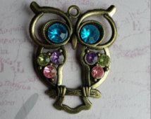 Uil hanger, grote uil hanger, vogel hanger, bronzen uil hanger, Owl Gift, Owl sieraden, bronzen bevindingen, strass uil, Crystal uil, uil
