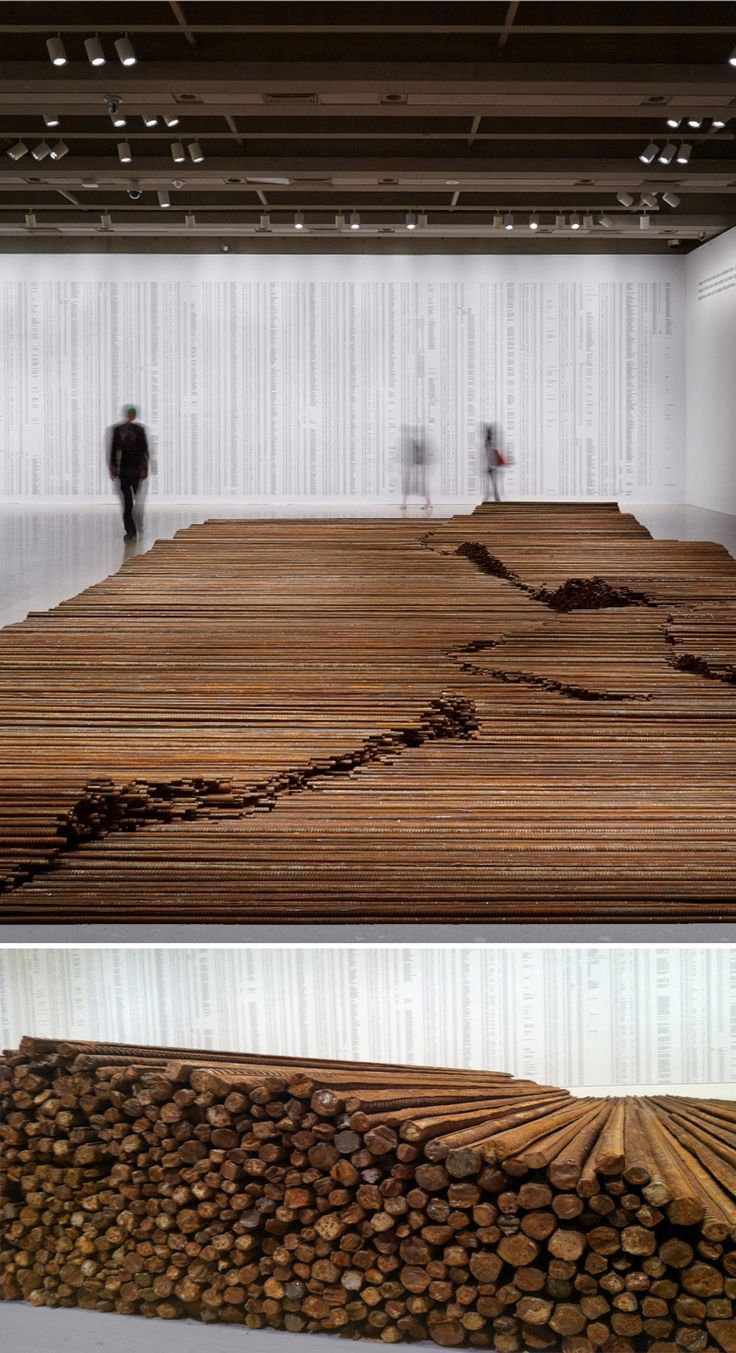 Ai Wei Wei, Straight. 2008–12, steel reinforcing bars, dimensions variable. In Straight, Ai Weiwei uses rebar recovered from the rubble of collapsed schoolhouses following the 2008 Sichuan earthquake.