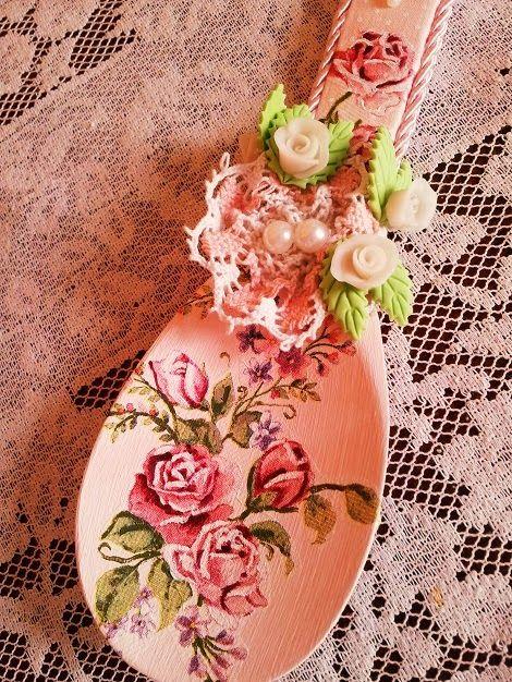 colher de pau decorada com decoupage - Pesquisa Google
