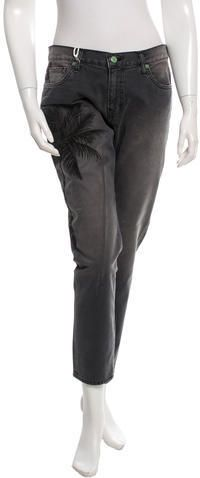 Sandrine Rose Embroidered Straight-Leg Jeans w/ Tags