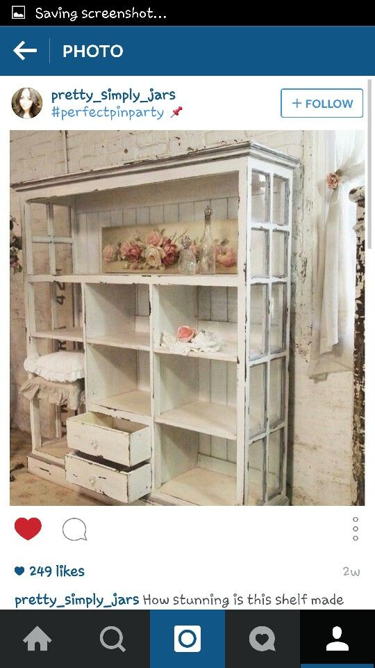 Up cycled cabinet from windows