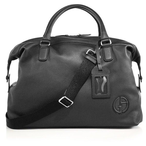 Giorgio Armani Leather Holdall (101.440 RUB) ❤ liked on Polyvore featuring men's fashion, men's bags, apparel & accessories, black, mens leather holdall, mens bag, mens leather bags and mens holdall bag