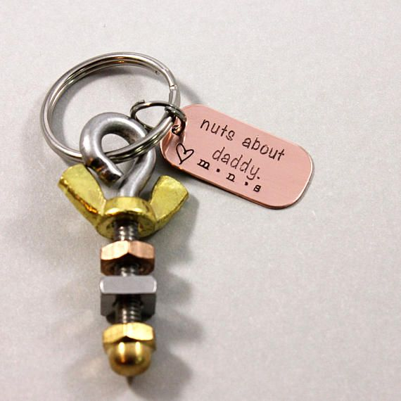 Mens Keyring Nuts about Daddy Keychain for Him Nuts Bolts