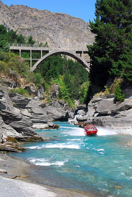 """For high-octane thrills in a high-octane city, head for Queenstown on New Zealand's South Island, where one of the signature activities (among a smorgasbord of adventures) is jetboating the Shotover River. Through the river's steep-sided canyons, jetboats skim past the rock walls, fishtailing and throwing themselves into 360-degree spins."""