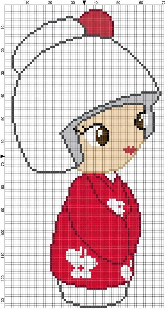 Red Kokeshi Cross Stitch Pattern - Professional Pattern Designer and Artist Collaboration