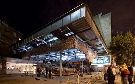 Pop up cinema in Clerkenwell London, 2010 or 2011, on disused petrol station site