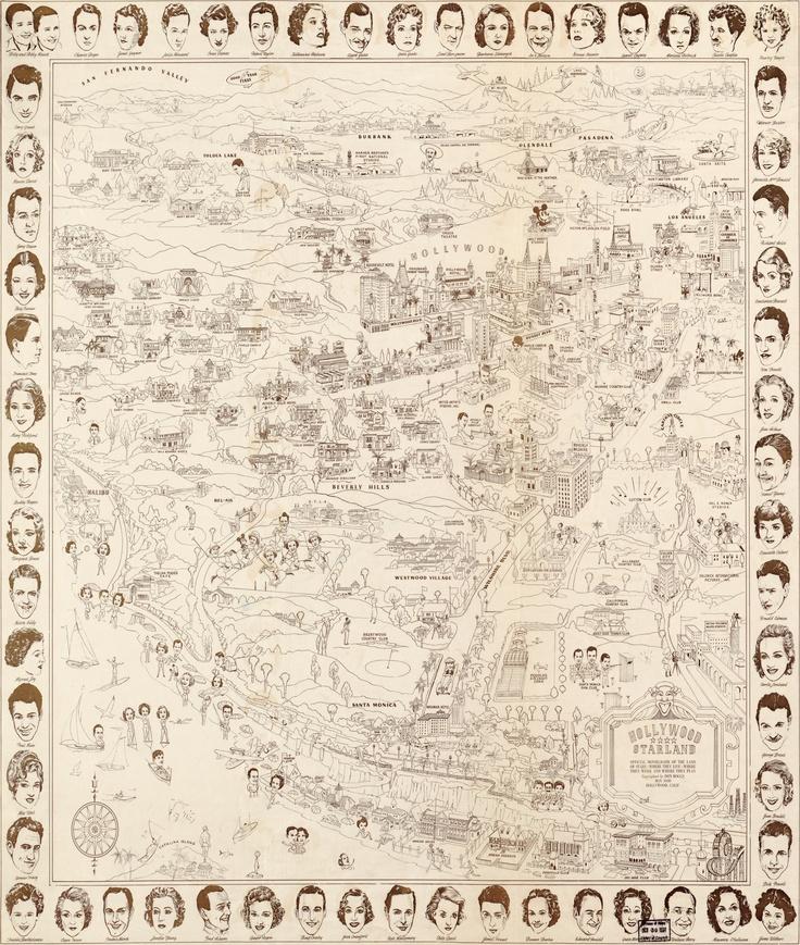 Hollywood Star Map Golden Age Celebrities 1937 Alfabet Tekenen