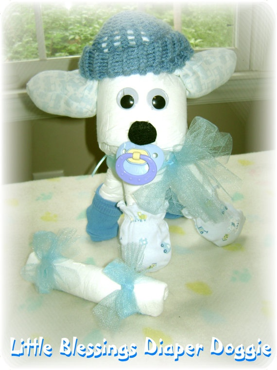 Baby Shower Diaper Doggie by Little Blessings Choose Color via Etsy