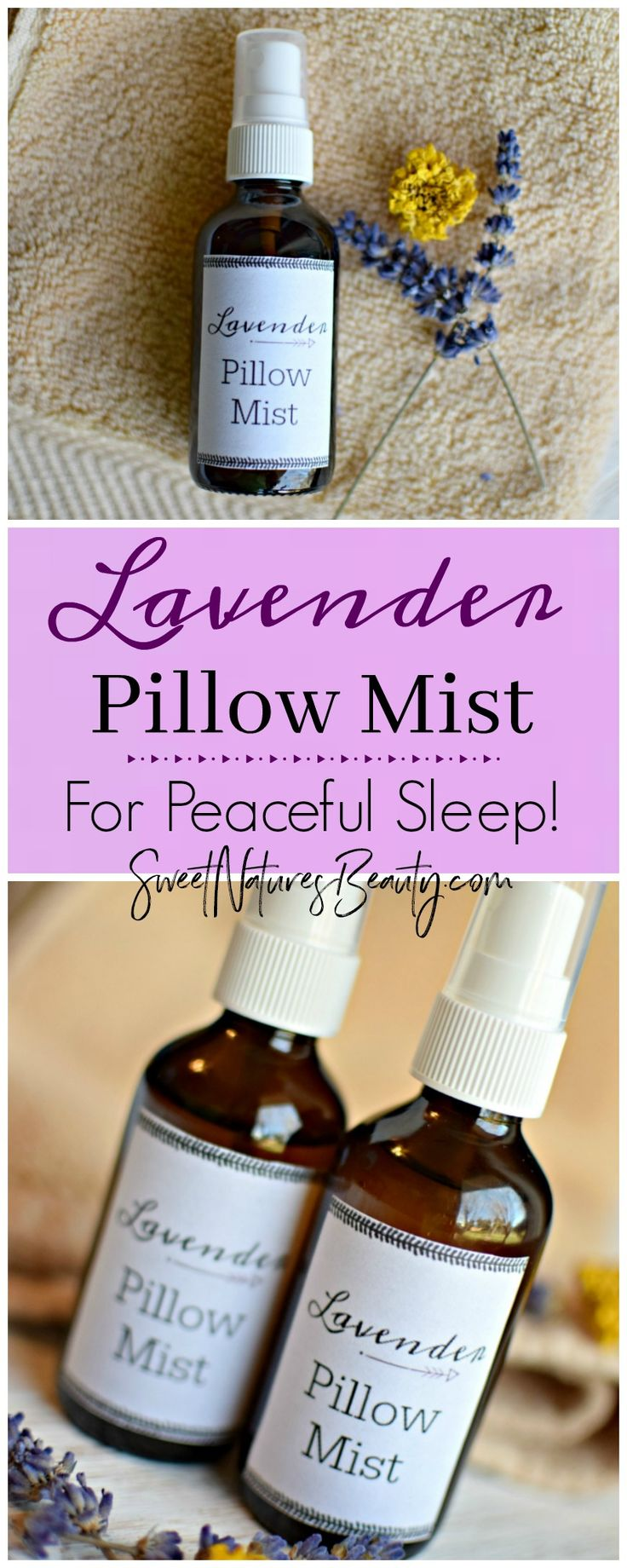 Use this DIY Lavender Pillow Mist in your bedroom right before going to sleep. The DIY lavender pillow mist recipe will give you the most peaceful sleep ever! With essential oils you can't go wrong with this homemade DIY Lavender Pillow Mist. Use as a linen spray, pillow spray, room spray, or car spray for aromatherapy purposes the natural way!