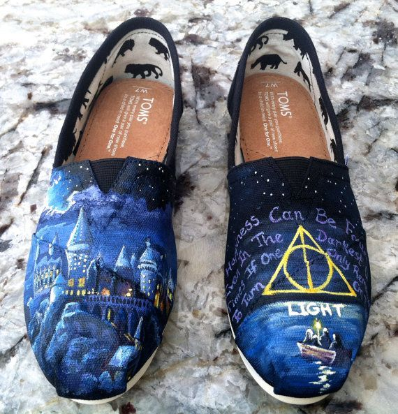 Made to Order Hand Painted TOMS Classic Canvas Shoes Harry Potter Hogwarts  Deathly Hallows