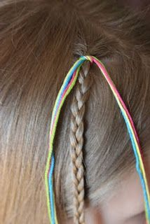 cut the string 4 times the length of the hair and then tie the string around the hait