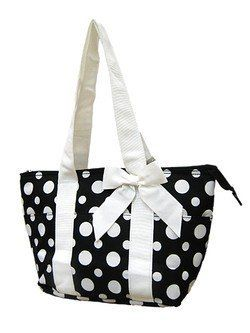 Darling! Polka Dot Insulated Lunch Bag Black White,