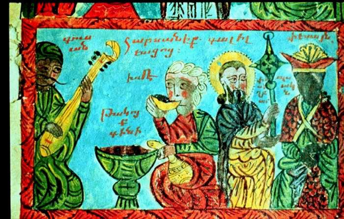 XVIth cent. Matenadran armenian studies,Marriage at Cana 267.Troubadour,