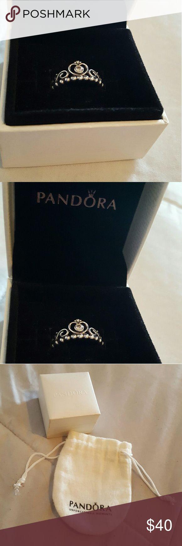Pandora My Princess Tiara ring Sterling silver Pandora My Princess tiara ring with CZ, size 7. Excellent condition. Pandora Jewelry Rings