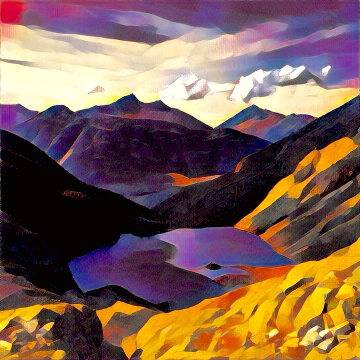 Joffre Lakes.  This #painting was made from a simple photo with a #Prisma app. #Illustration #Art #Lake #Mountains #drawing #landscape #nature
