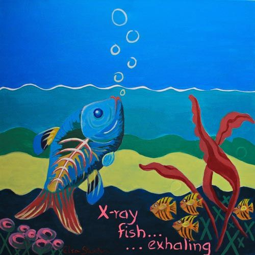 X is for X-ray fish....'X-ray fish, exhaling'