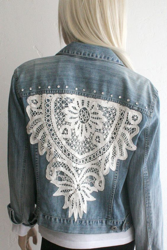 Denim Jacket with Swarovski Crystals and Crocheted Lace: