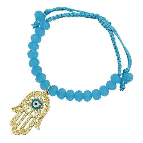 Hamsa Hand Crystal Bead Bracelet - Blue