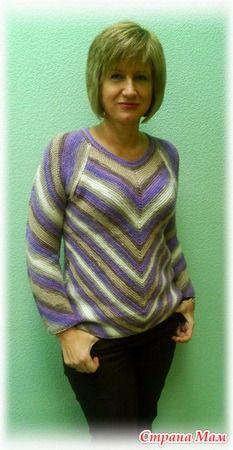 Пуловер с фантазийными полосами - Вязание - Страна Мам
