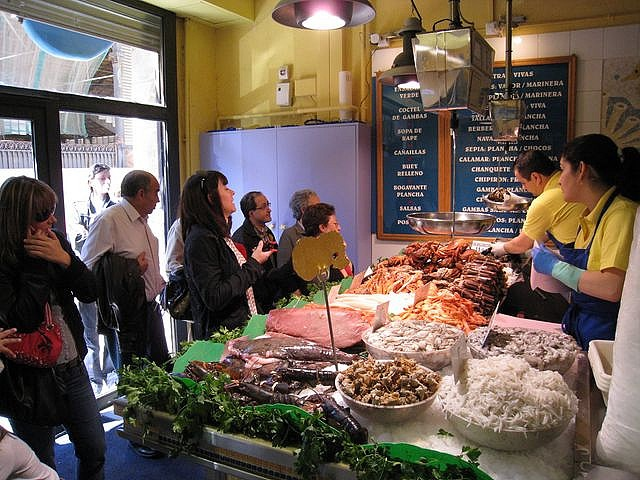 La Paradeta restaurant. Barcelona, Spain. A seafood lover's dream. Pick out your seafood; they cook it. Lobsters, prawns, calamari, all delicious! Must go if you're in Barcelona.
