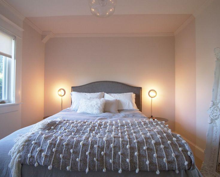 pink bedroom in a modernist starter home in portland designed by ericka violett of bright