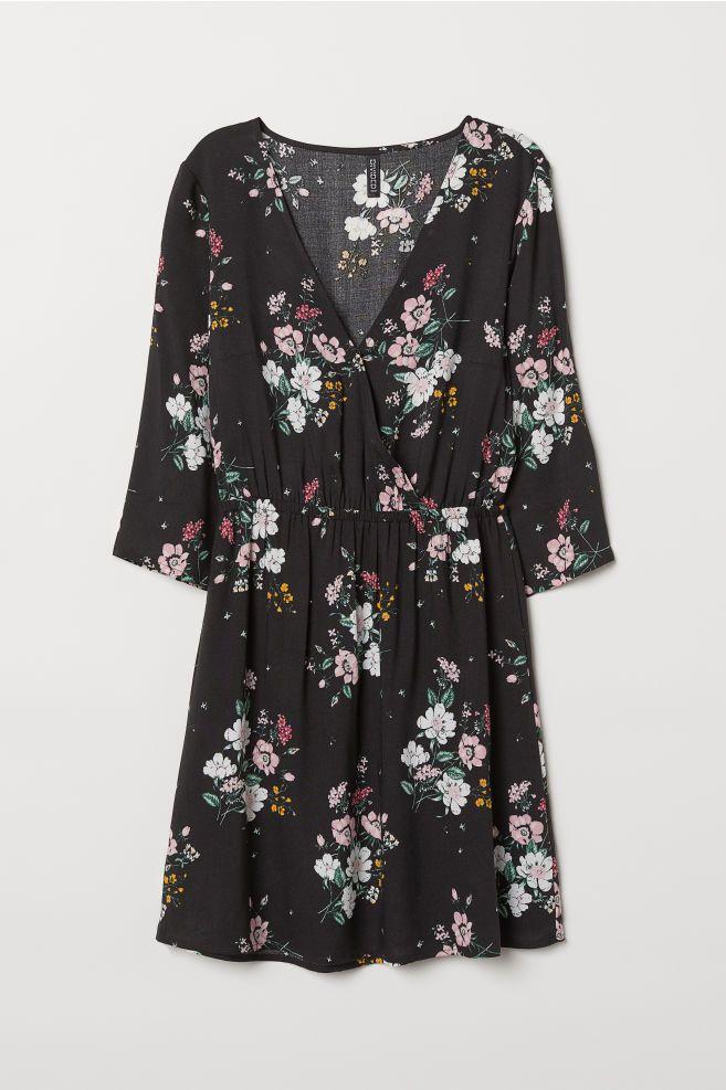 0d222e1fa568a V-neck wrap dress - Black Floral - Ladies