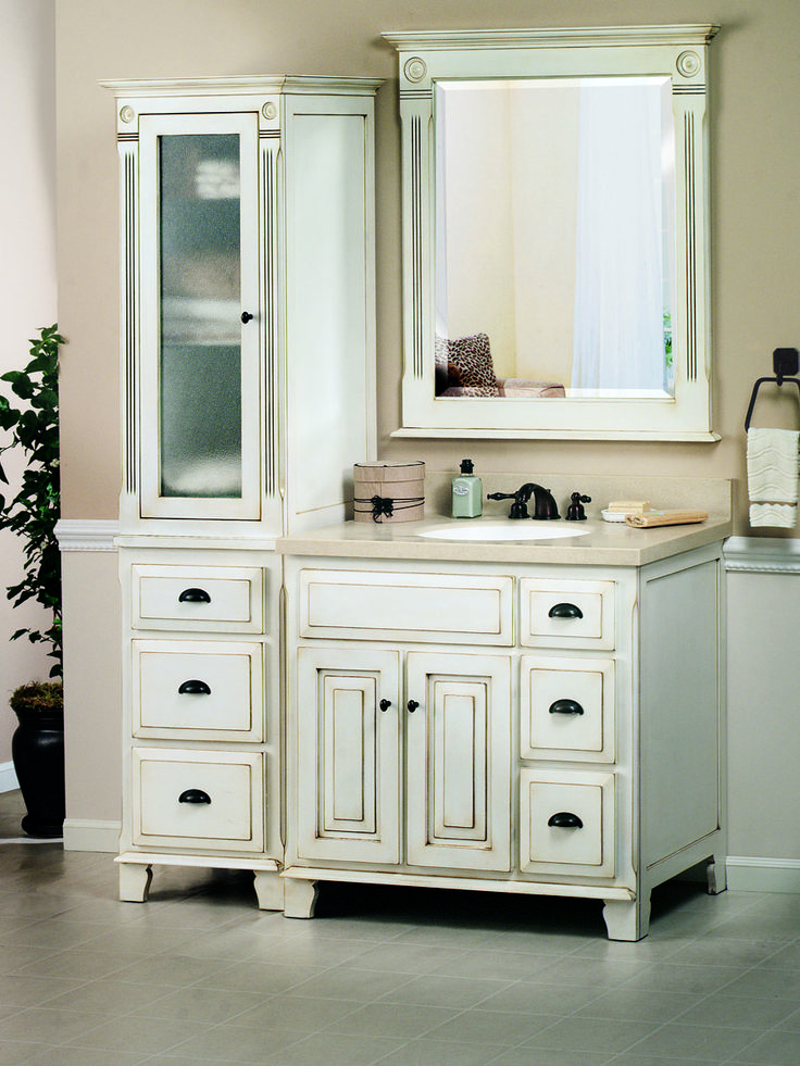 """36"""" Victorian Single Vanity - shown with optional top, linen cabinet, and mirror"""