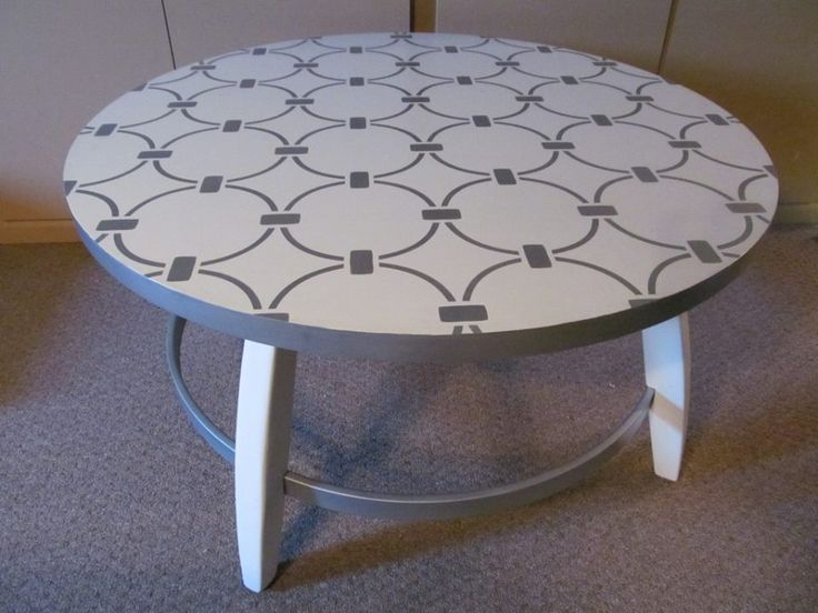 Large Round Coffee Table   After Upcycled With New Paint, And A Fun  Metallic Stencil