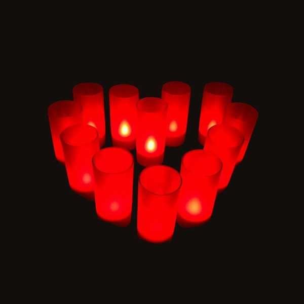 12 Bougies Led Rouges rechargeables avec Photophore 53.90 €