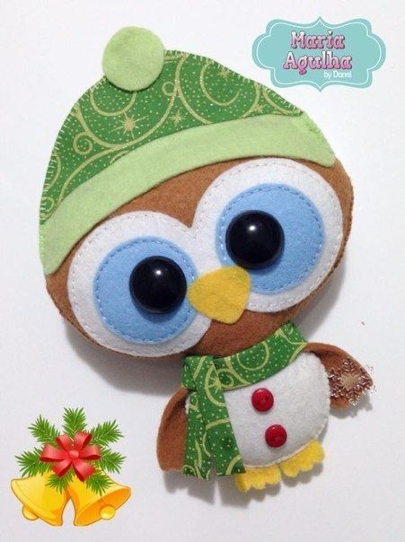 Милые новогодние совушки из фетра + выкройки