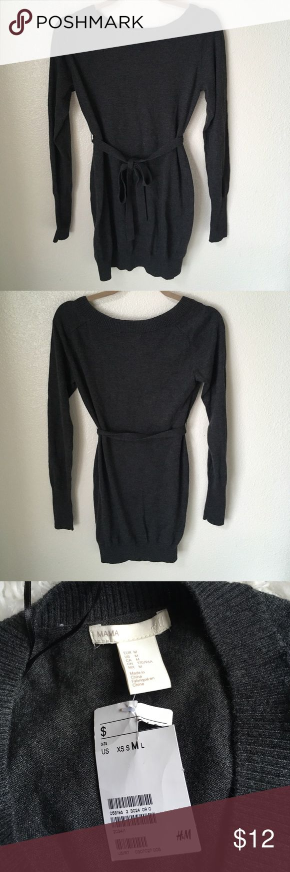 """H&M Maternity Long Sweater H&M size medium long maternity knit sweater. It comes with a matching belt. NWT. Armpit to armpit about 17 in across and about 29 in long. It's a maternity item, but could easily be worn by a non pregnant person 😜 there is no indication on the item that it's a maternity item besides the word """"mama"""" on the label ☺️ H&M Sweaters"""
