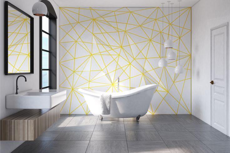 Stonowana łazienka zyska na wyrazistości i oryginalnym wyglądzie, jeśli białą ścianę urozmaicimy ciekawymi wzorami w kolorze słońca. Tego typu dekoracje można wykonać za pomocą testerów farb Beckers Designer Kitchen & Bathroom - ograniczeniem jest tylko wyobraźnia!