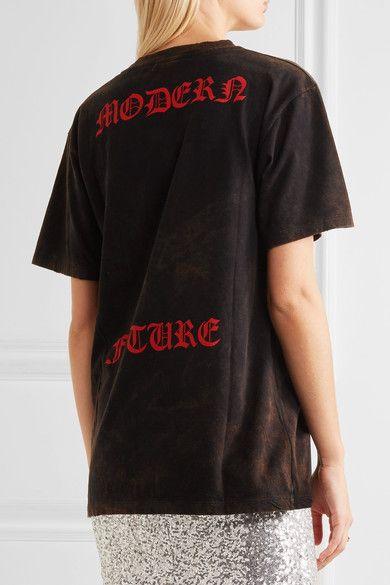 Gucci - Appliquéd Printed Cotton-jersey T-shirt - Black - xx small