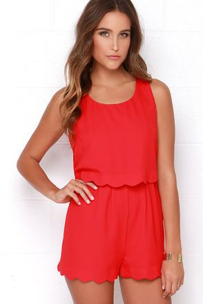 Scalloped Red Romper