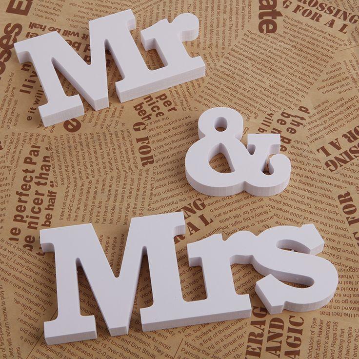 Sinal de Recepção de casamento Mr & Mrs Mesa Alfabeto Letras De Madeira Sólida Decoração