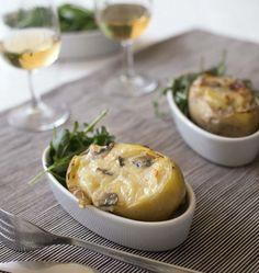 Pommes de terre farcies aux champignons et au reblochon - les meilleures recettes de cuisine d'Ôdélices