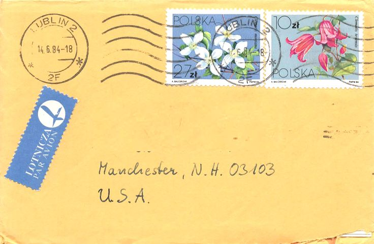 Letter sent from Lublin to the U.S. in June, 1984. The stamps are flowers of the clematis family. Left are clematis montana, white flowered deciduous vines. On the right is clematis texensis, violet flowered climbers.
