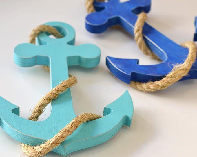 Ancre de bateau en bois - plage decore - ancre nautique - mariage nautique - décoration nautique