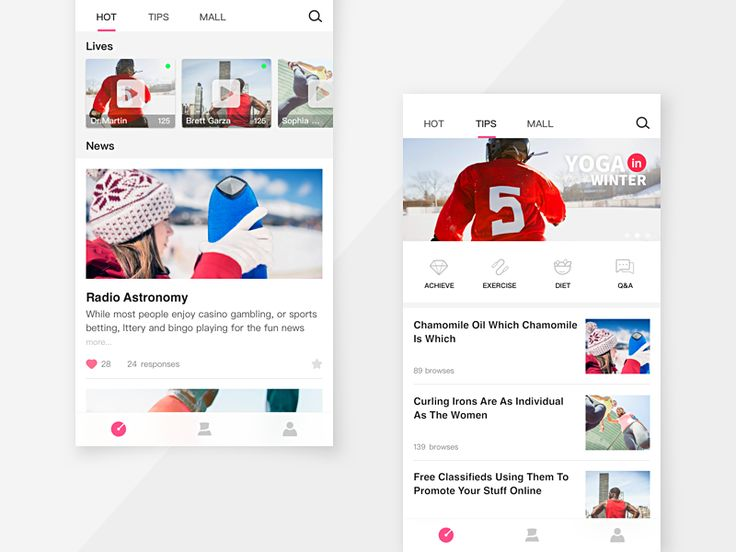 Home Page in a Sport App by Ananason