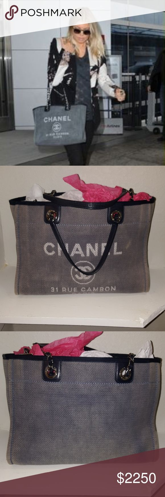 "CHANEL ""DENIM DEAUVILLE"" MEDIUM TOTE 100% AUTHENTIC. LIGHT USAGE. COMES WITH CARD. (NO DUST BAG). CLEAN INTERIOR. CORNERS SHOW SOME LIGHT RUBBING. OTHER THAN THAT, IT IS IN PERFECT CONDITION. FOR SALE OR TRADE WITH SELECTIVE POSHERS.  MAKE YOUR OFFER USING THE BUTTON. THANKS. CHANEL Bags Totes"