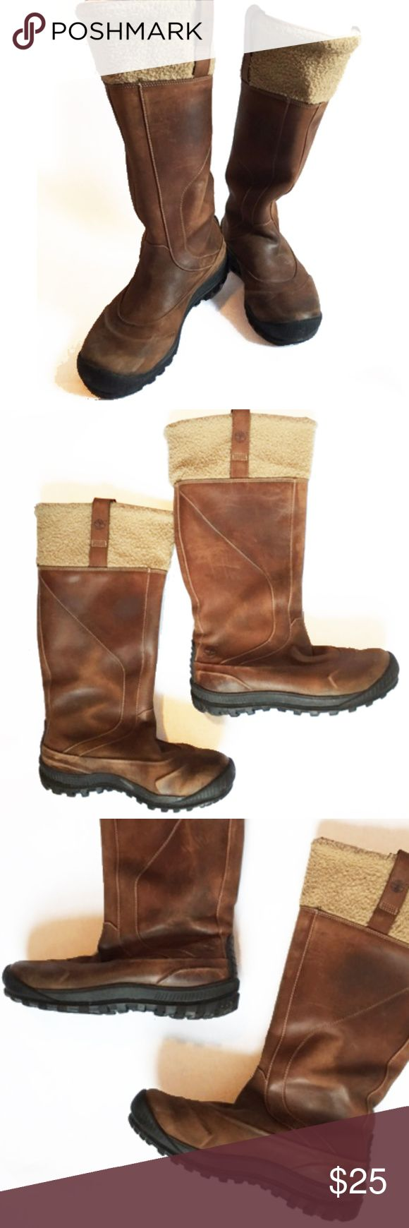 SALE! Timberland Boots - sherpa lining winter boot These Timberland boots will keep you warm! Sherpa lined leather boots with rugged rubber soles. These boots are used in good condition with some signs of wear. Timberland Shoes Winter & Rain Boots