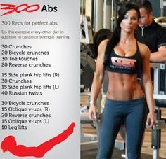 300 abs challenge!! ...this is what i've been doing. 5 reps every day first week, increase +5 every week! (: