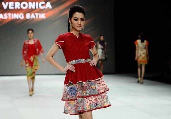 Fahrani Ruffle dress with cotton embroidery mix batik stamp hokokai