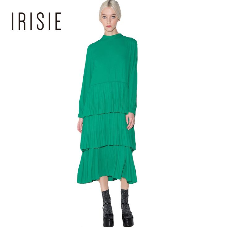 IRISIE Apparel Sweet Contrast Women Dress Vestidos Back Bow Pleated Pullover Dress Green Casual Slim Lace-up Back Tiered Dresses