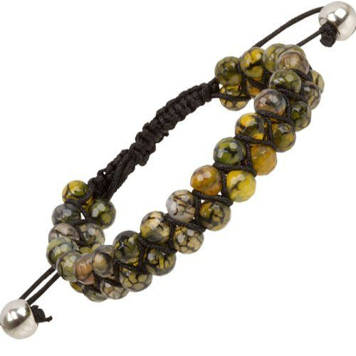 """Heirloom Finds Double Row Green Agate Bead Macrame Friendship Shamballa Bracelet Heirloom Finds. $15.99. Double Row of faceted 6mm Beads, total bracelet width 12mm. Perfect for a Man or Woman. Arrives Gift Boxed!. Wear alone or layer with other bracelets. Bracelet adjusts from 7"""" to 10"""". Save 56% Off!"""