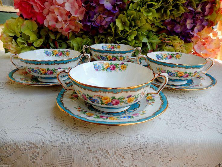 4 Crown Staffordshire Porcelain Cream Soup Cups & Saucers Lyric Tunis Blue Rose #CrownStaffordshire